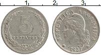 Изображение Монеты Аргентина 5 сентаво 1937 Медно-никель XF