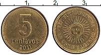 Изображение Монеты Аргентина 5 сентаво 2011 Латунь XF