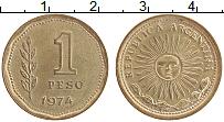 Изображение Монеты Аргентина 1 песо 1974 Латунь XF