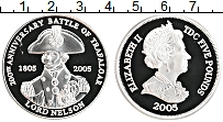Изображение Монеты Тристан-да-Кунья 5 фунтов 2005 Серебро Proof Елизавета II. Гораци