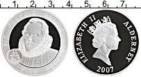 Изображение Монеты Олдерни 5 фунтов 2007 Серебро Proof Елизавета II. Фрэнси