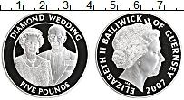 Изображение Монеты Гернси 5 фунтов 2007 Серебро Proof Елизавета II.Брильян