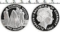 Изображение Монеты Гернси 5 фунтов 2007 Серебро Proof Елизавета II. 60 лет