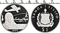 Изображение Монеты Самоа 1 доллар 1977 Серебро Proof Перелет Линдберга