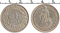 Изображение Монеты Швейцария 2 франка 1968 Медно-никель XF