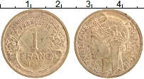 Изображение Монеты Французская Экваториальная Африка 1 франк 1944 Латунь XF