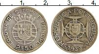 Изображение Монеты Сан-Томе и Принсипи 2 1/2 эскудо 1939 Серебро XF- Португальская колони