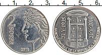 Изображение Монеты Аргентина 2 песо 2010 Медно-никель UNC- 75 лет Центральному