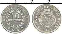 Изображение Монеты Коста-Рика 10 сентим 1972 Медно-никель XF Герб