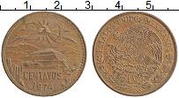 Изображение Монеты Мексика 20 сентаво 1974 Медь XF Герб. Пирамида Солнц