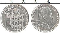Изображение Монеты Монако 1 франк 1976 Медно-никель UNC- Никель. Князь Ренье