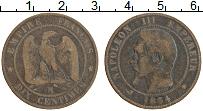 Изображение Монеты Франция 10 сантим 1854 Медь VF М Наполеон III
