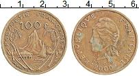 Изображение Монеты Полинезия 100 франков 2000 Латунь XF Никель-Бронза. Проте