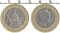 Изображение Монеты Великобритания 2 фунта 2005 Биметалл XF 50 лет победы.Елизав
