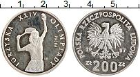 Изображение Монеты Польша 200 злотых 1987 Медно-никель Proof- XXIV Олимпиада. Тенн