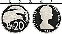 Изображение Монеты Новая Зеландия 20 центов 1978 Медно-никель Proof- Елизавета II. Птица
