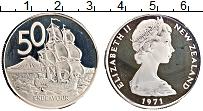 Изображение Монеты Новая Зеландия 50 центов 1971 Медно-никель Proof- Елизавета II. Парусн