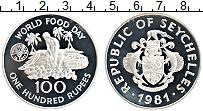 Изображение Монеты Сейшелы 100 рупий 1981 Серебро Proof ФАО.