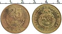 Изображение Монеты Коста-Рика 25 колон 2007 Латунь XF Герб