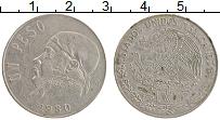 Изображение Монеты Мексика 1 песо 1980 Медно-никель XF Хосе Морелос