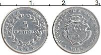 Изображение Монеты Коста-Рика 5 сентим 1958 Медно-никель XF