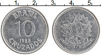 Изображение Монеты Бразилия 10 крузадо 1988 Железо XF Герб
