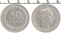 Изображение Монеты Колумбия 50 сентаво 1967 Медно-никель XF Симон Боливар