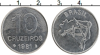 Изображение Монеты Бразилия 10 крузейро 1981 Железо XF Карта