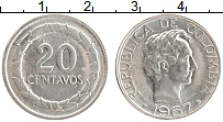 Изображение Монеты Колумбия 20 сентаво 1967 Медно-никель XF Симон Боливар