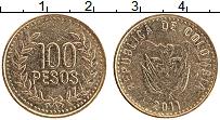 Изображение Монеты Колумбия 100 песо 2011 Латунь XF Герб