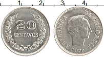 Изображение Монеты Колумбия 20 сентаво 1970 Медно-никель XF