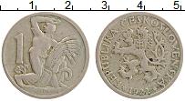 Изображение Монеты Чехословакия 1 крона 1922 Медно-никель XF Герб