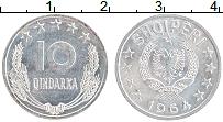 Изображение Монеты Албания 10 киндарка 1964 Алюминий UNC- Герб