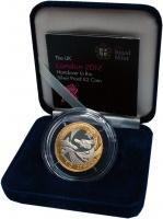Изображение Подарочные монеты Великобритания 2 фунта 2012 Серебро Proof Передача олимпийског