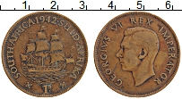 Изображение Монеты ЮАР 1 пенни 1942 Бронза XF Георг V
