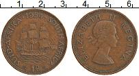 Изображение Монеты ЮАР 1 пенни 1954 Бронза XF Елизавета II