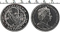 Изображение Монеты Фолклендские острова 1 крона 2007 Медно-никель UNC Чарльз Дарвин.Елизав