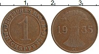 Продать Монеты Веймарская республика 1 пфенниг 1935 Бронза