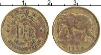 Изображение Монеты Бельгийское Конго 1 франк 1944 Латунь XF Слон