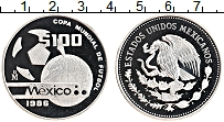 Изображение Монеты Мексика 100 песо 1986 Серебро Proof Чемпионат мира по фу