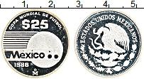Изображение Монеты Мексика 25 песо 1986 Серебро Proof- Чемпионат мира по фу