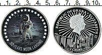 Изображение Монеты Гана 2 седи 2019 Посеребрение Proof 50 лет первой высадк