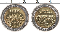 Изображение Монеты Аргентина 1 песо 2010 Биметалл UNC- 200-летие Аргентины.