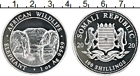 Изображение Монеты Сомали 100 шиллингов 2020 Серебро Proof Африканские слоны
