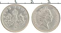 Изображение Монеты Великобритания 5 пенсов 1990 Медно-никель UNC- Елизавета II.