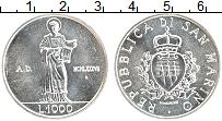 Изображение Монеты Сан-Марино 1000 лир 1987 Серебро UNC- 15 лет возобновления