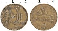 Изображение Монеты Литва 10 центов 1925 Бронза XF Герб