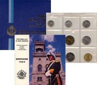 Изображение Подарочные монеты Сан-Марино Регулярный выпуск 1984 года 1984  UNC Набор посвящен регул