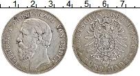 Изображение Монеты Баден 5 марок 1876 Серебро XF А Фридрих