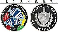 Изображение Монеты Куба 10 песо 1996 Серебро Proof Фауна Карибского бас